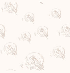 Seamless pattern with knife fork plate drawing vector