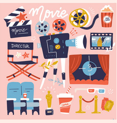 set cinema flat colored doodle collection vector image