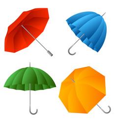 set color umbrella cartoon of vector image
