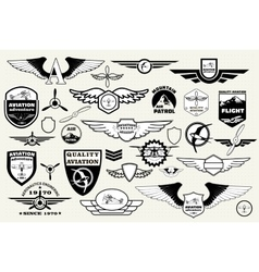 Set emblems elements badges logo Aviation vector