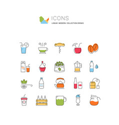 Set flat line icons drinks and alcohol vector
