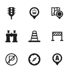 Set of 9 editable navigation icons includes vector
