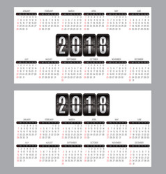 Set of calendar grid for years 2018-2019 for vector