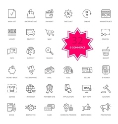 Set of E-commerce Thin lines icons vector