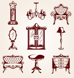 Set of furniture icons vector image