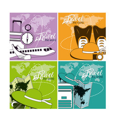 set of world travel cards vector image