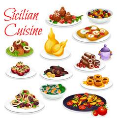Sicilian veggies seafood dish pastry dessert vector
