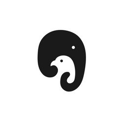 Simple elephant and bird logo design vector