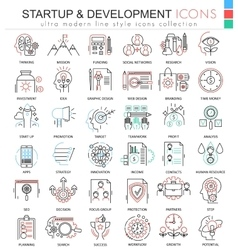 Startup and development color line outline vector image
