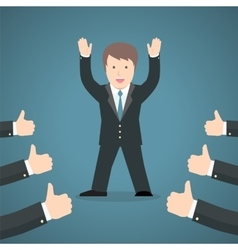 Successful businessman acknowledging many thumbs vector