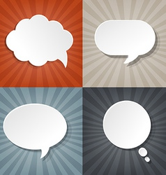Sunburst Backgrounds Set With Speech Bubbles vector image