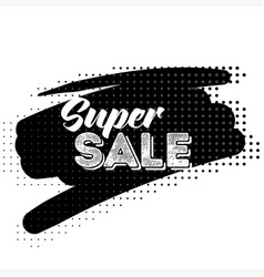 Super sale black label with halftone pattern vector