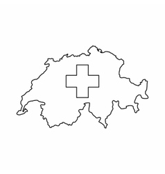 Switzerland map icon outline style vector image
