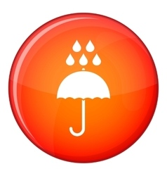 Umbrella and rain drops icon flat style vector