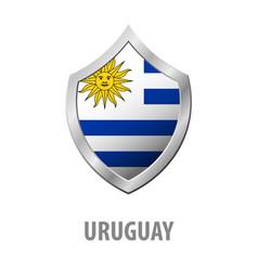 Uruguay flag on metal shiny shield vector