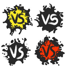 Versus fight labels on dirty blobs vector