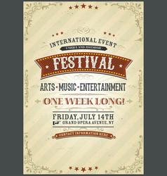 Vintage festival poster vector