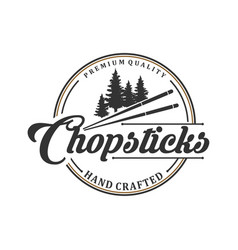 Vintage logo for traditional wooden chopstick vector