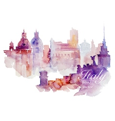 Watercolor Italy Rome vector