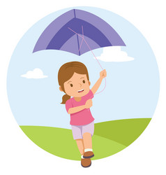 Young little girl playing kite in the field vector