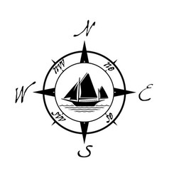 flat yacht icon with compass vector image
