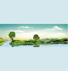 panorama of nature - green island on the lake vector image vector image