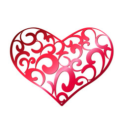 red openwork heart on a white background vector image
