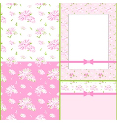 Set of Colorful Flower Seamless Pattern vector image vector image