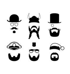 Silhouettes parts of face Mustache beard hair vector image vector image
