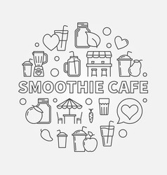 smoothie cafe round concept in thin vector image