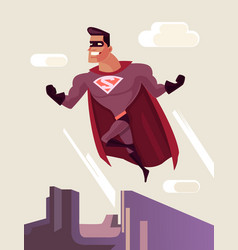 superhero character jumping from roof vector image