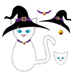 White cat witch vector