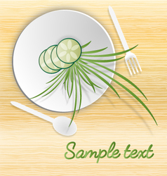 White plate with cucamber and grass vector