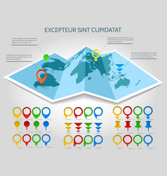 world map 3d paper with pins vector image