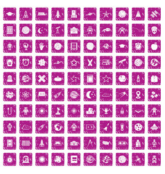 100 astronomy icons set grunge pink vector