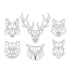 Low poly animals heads triangular thin line vector
