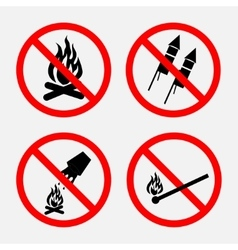 A set of signs prohibiting fire prohibited vector image vector image