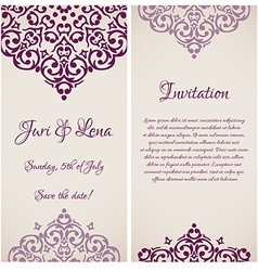 baroque damask wedding invitation banners with a vector image vector image