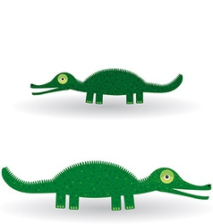 Funny green crocodile on a white background vector image
