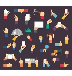 Hands with objects hands hold devices and vector image vector image