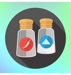 pepper salt shaker spices flavoring vector image