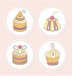 Sweet cupcakes set vector image