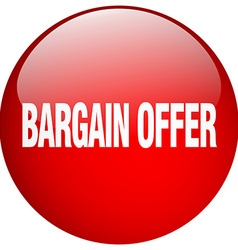 Bargain offer red round gel isolated push button vector