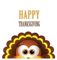 Card for Thanksgiving Day with turkey on white vector image