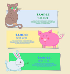 nursery three horizontal cards with pets for kids vector image