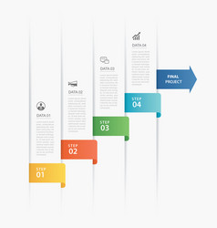 4 data infographics timeline tab paper index vector image