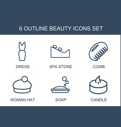 6 beauty icons vector