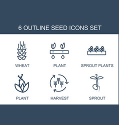 6 seed icons vector
