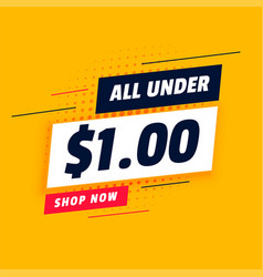 All under dollar one shopping sale banner design vector