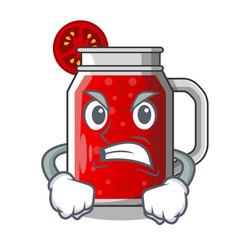 Angry tasty tomato juice on cartoon table vector